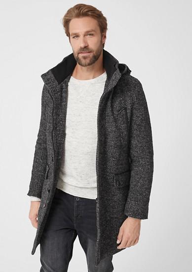 Tweed-Mantel aus Wollmix