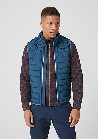 Steppweste mit Kontrast-Zipper