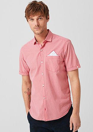 Regular: overhemd met korte mouwen en vichyruiten