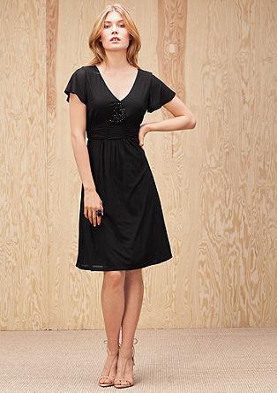 Mesh-Kleid mit Schmuckperlen