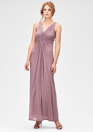 Mesh-Kleid mit Schmuckperlen-Dekor