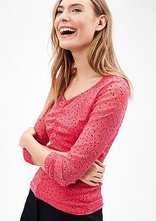 Mrežasta majica s širokim izrezom