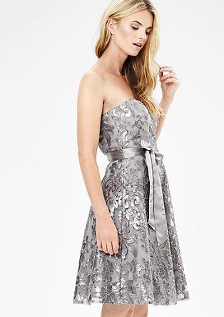 Schulterfreies Kleid mit Pailletten