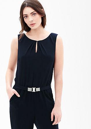 Blusen-Jumpsuit mit Ziergürtel
