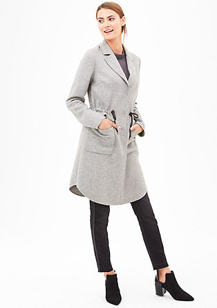 Wool blend coat with a drawstring panel from s.Oliver