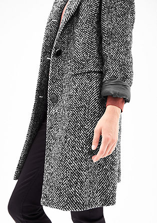 Vlněný kabát se vzorem rybí kosti