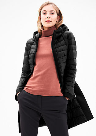 Down coat with scuba inserts from s.Oliver