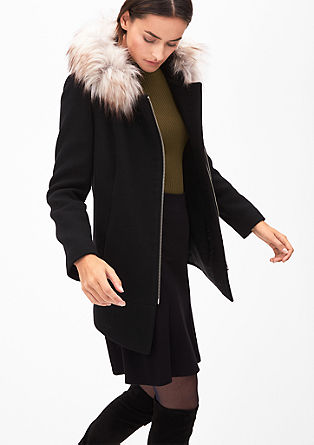 Wool coat with faux fur from s.Oliver
