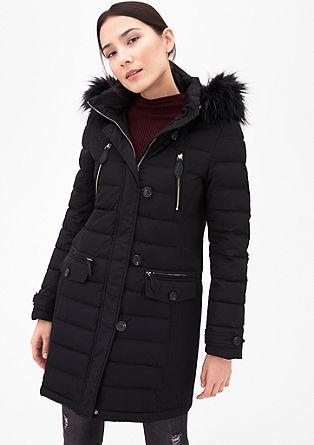 Péřový kabát simitací kožešiny