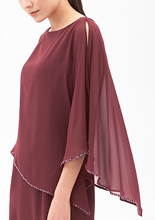 Elegantna obleka z ogrinjalom iz šifona