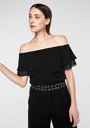 Off-the-shoulder jumpsuit met ruches