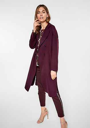 Wool coat with a faux fur trim from s.Oliver