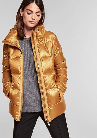 Donzen jas met goudkleurige rits