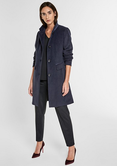 Suede coat made of blended wool from s.Oliver