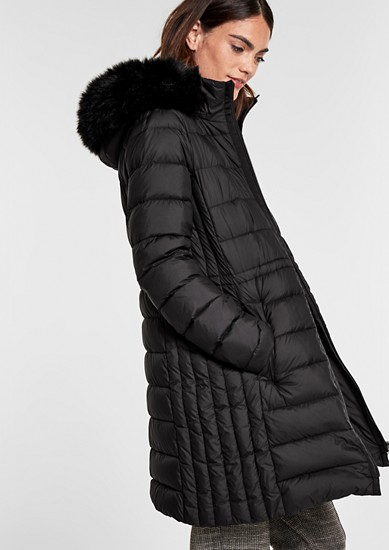 Down coat with woven faux fur from s.Oliver