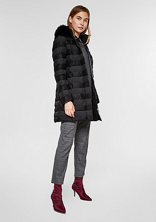 Padded quilted coat with woven faux fur  from s.Oliver