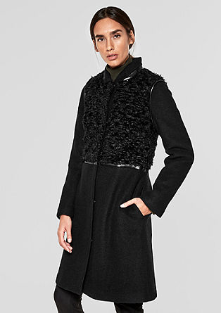 Wool coat with faux fur trim from s.Oliver