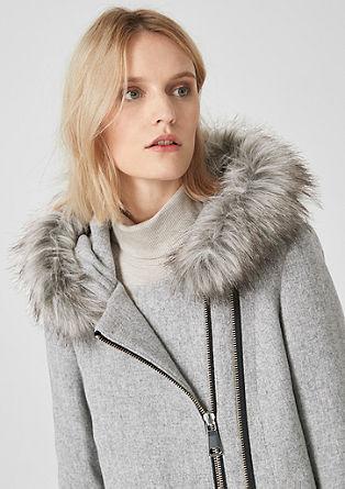 Manteau en laine à liseré en fourrure synthétique de s.Oliver