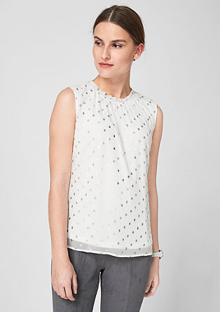 High neck blouse top with polka dots from s.Oliver