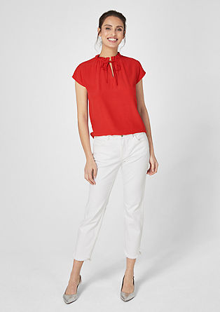 Viscose blouse with a ruffled collar from s.Oliver