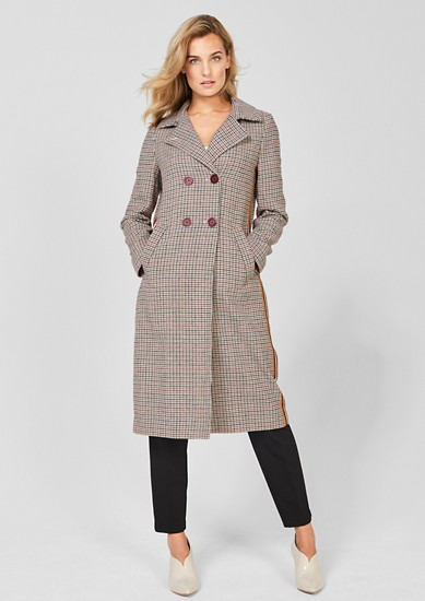 Prince of Wales check coat with tuxedo stripes from s.Oliver