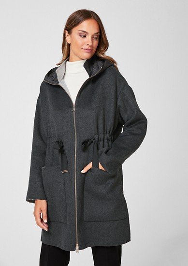 Double-faced coat with a quilted hood from s.Oliver