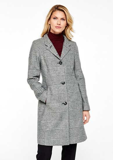 Prince of Wales check coat in a wool blend from s.Oliver
