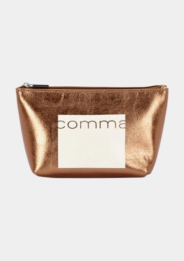 Goldglänzende Kosmetiktasche mit comma-Logoprint