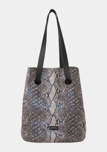 Volumige Shoppingbag in Snakeskin-Optik