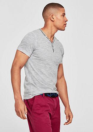 Slim: gemêleerd shirt met Henley-halslijn