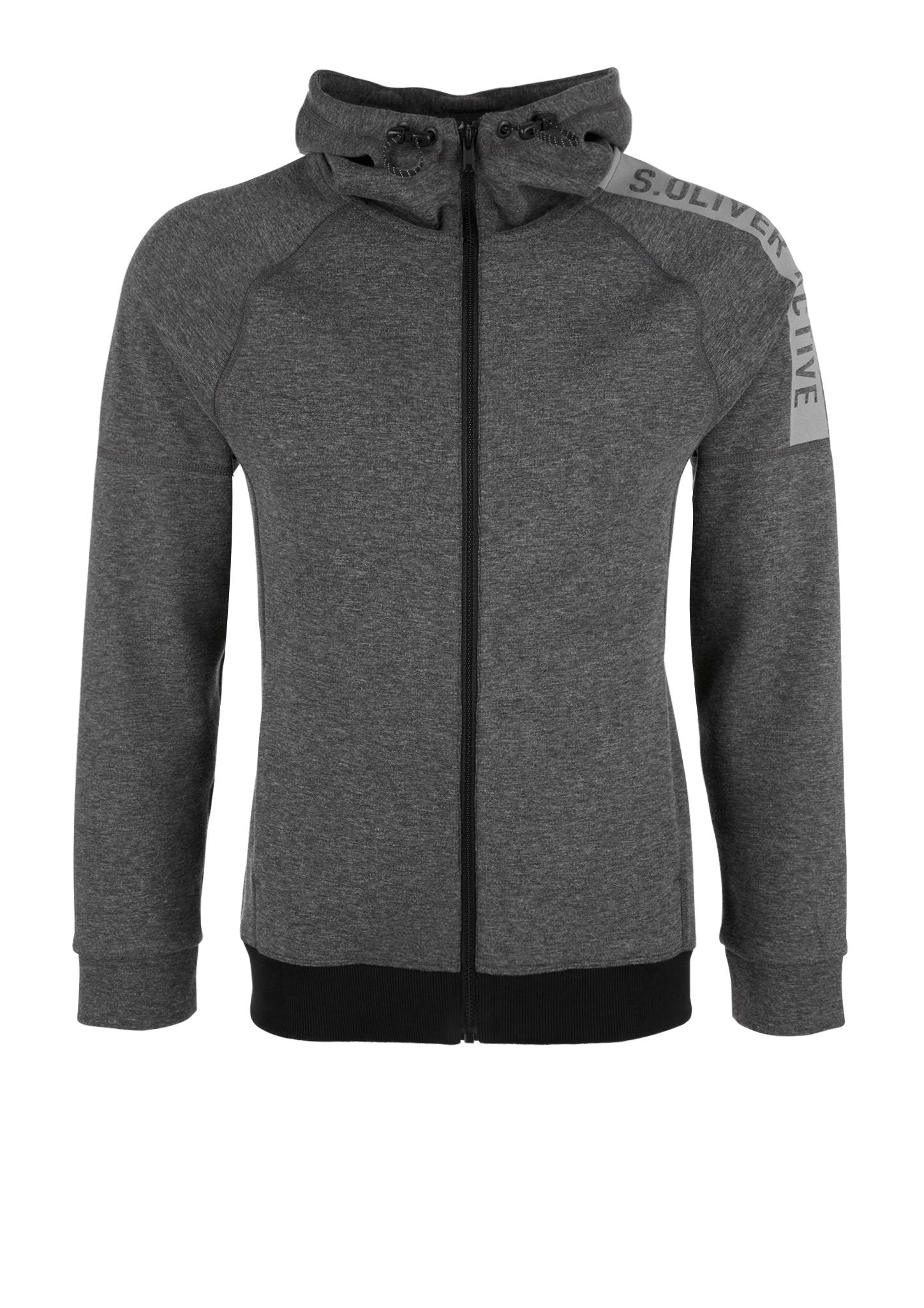 Sporty Sweatjacke | Sportbekleidung | Grau/schwarz | 56% polyester -  44% baumwolle | s.Oliver ACTIVE