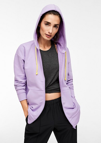 Sporty sweatshirt jacket with contrasting drawstring ties from s.Oliver