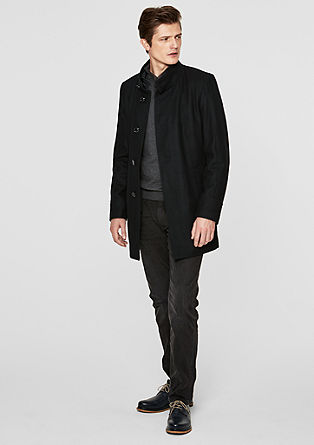 Slim Fit: Wool coat with stand-up collar from s.Oliver