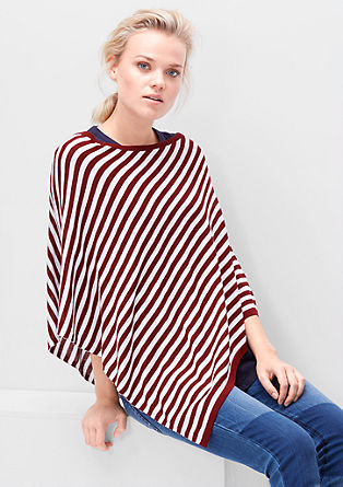 Striped fine knit poncho from s.Oliver