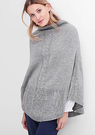 Poncho with a cable knit pattern from s.Oliver