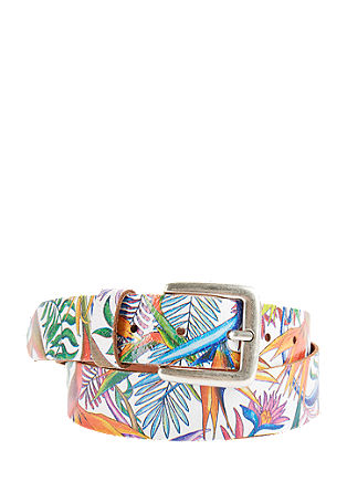 Leather belt with a floral print from s.Oliver