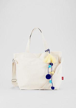 Plátěná velká kabelka s ozdobnými střapci