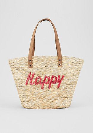 Strandtasche aus Stroh mit Artwork