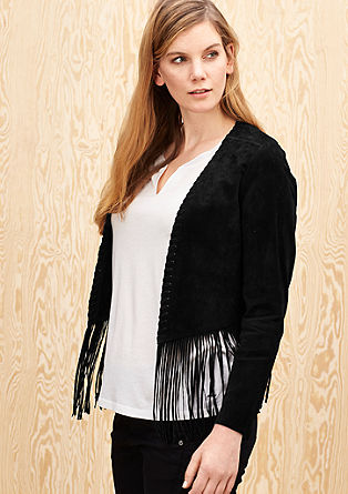 Cropped leather jacket with fringing from s.Oliver