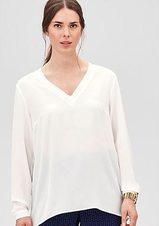 Crêpe blouse met V-hals