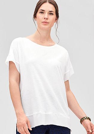 T-Shirt mit Chiffon-Blende