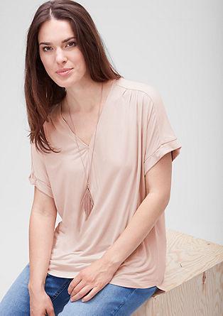 Viskose-Shirt mit Y-Ausschnitt