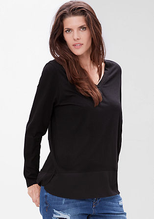 Long top with hem trim from s.Oliver