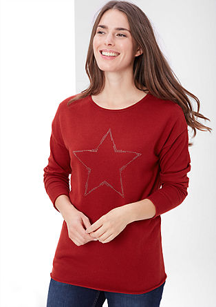 Fine knit jumper with a studded star from s.Oliver