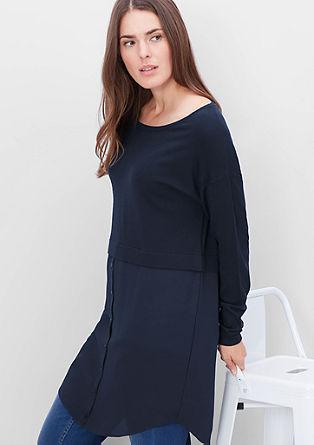 Langer Pullover im Layer-Look