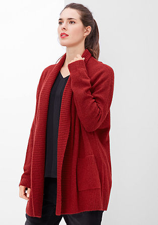 Bouclé cardigan with a ribbed collar from s.Oliver