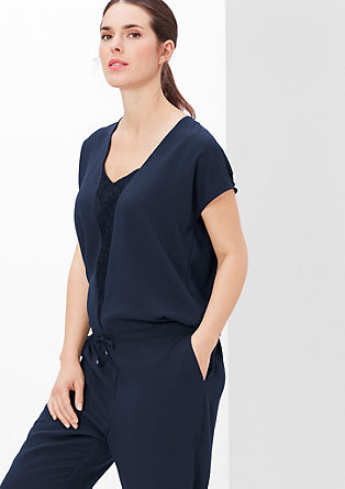Crêpe jumpsuit with lace from s.Oliver