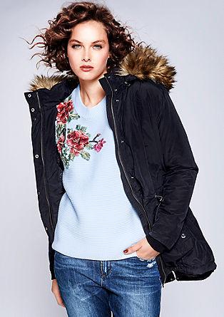 Vatovaná bunda s lemem z imitace kožešiny