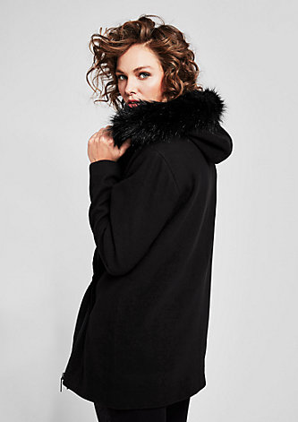 Asymmetrische Jacke mit Fake Fur