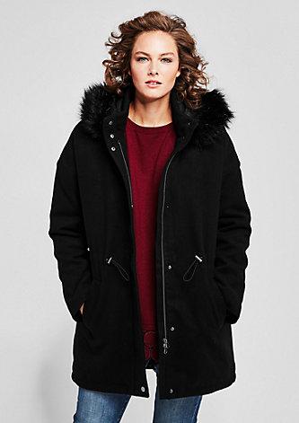 Mantel mit Fake-Fur-Kapuze